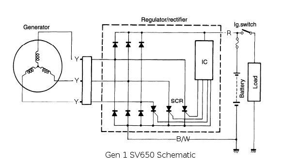 12v 3 Phase Motorcycle Regulator  Rectifier Circuit Wiring Diagram