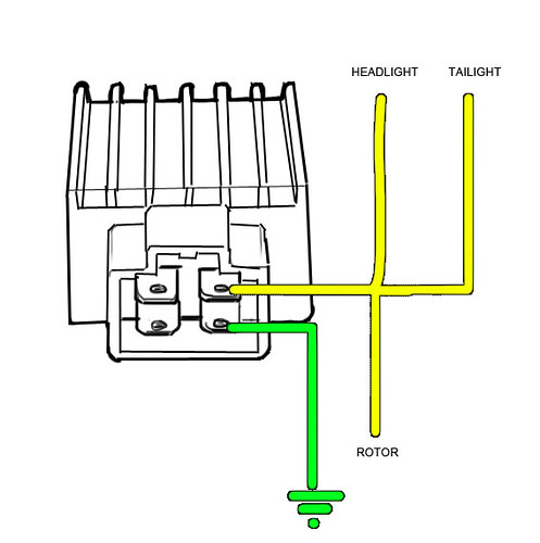 12v 3 Phase Motorcycle Regulator  Rectifier Circuit Wiring Diagram
