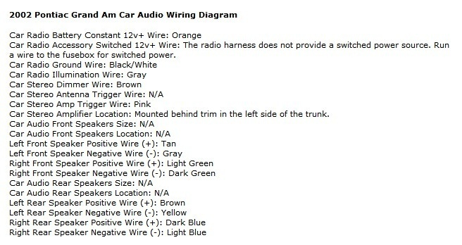 2004 Pontiac Grand Am Monsoon Radio Wiring Diagram With