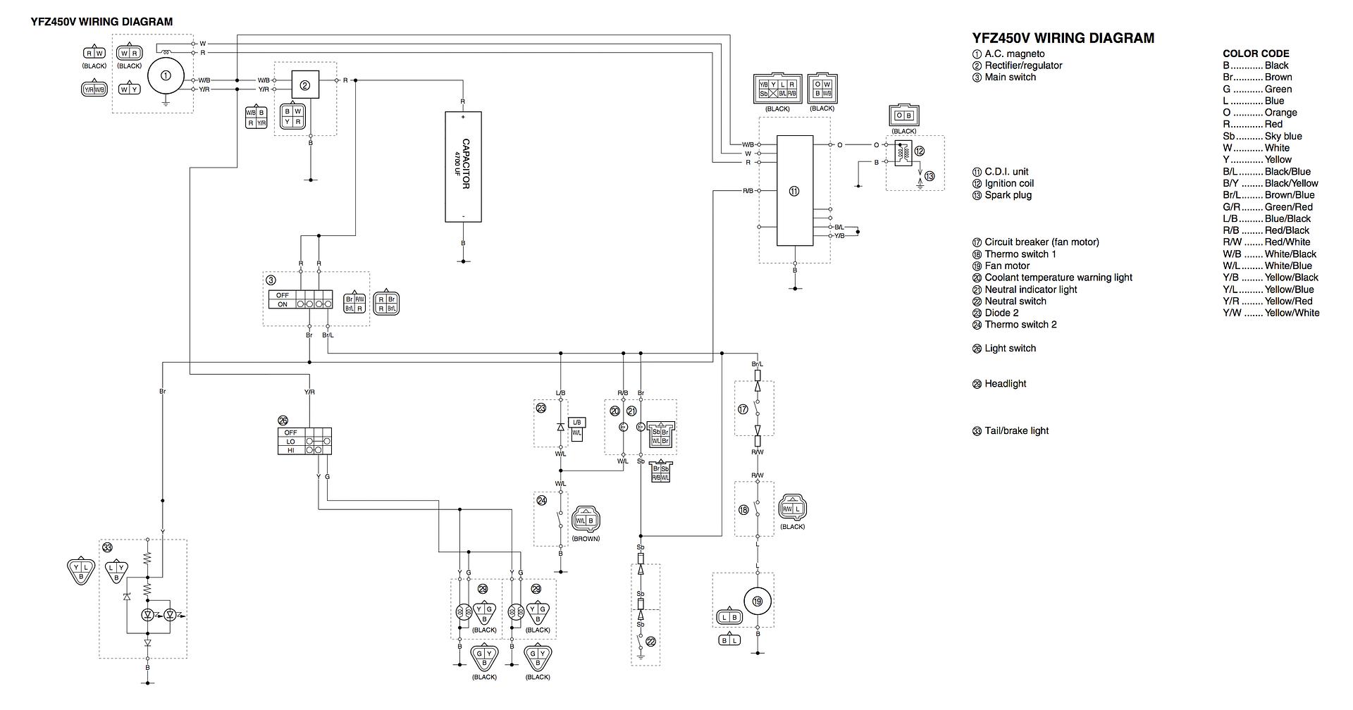 2007 Yfz 450 Headlight Wiring Diagram