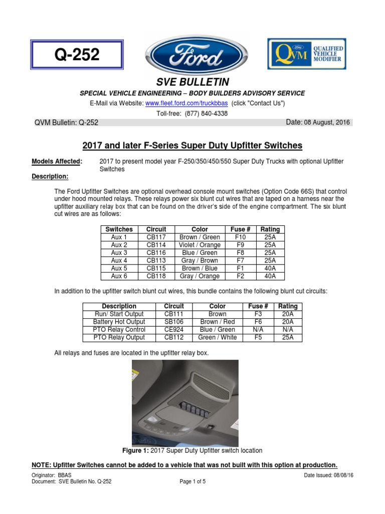2018 Ford Upfitter Switches Wiring Diagram