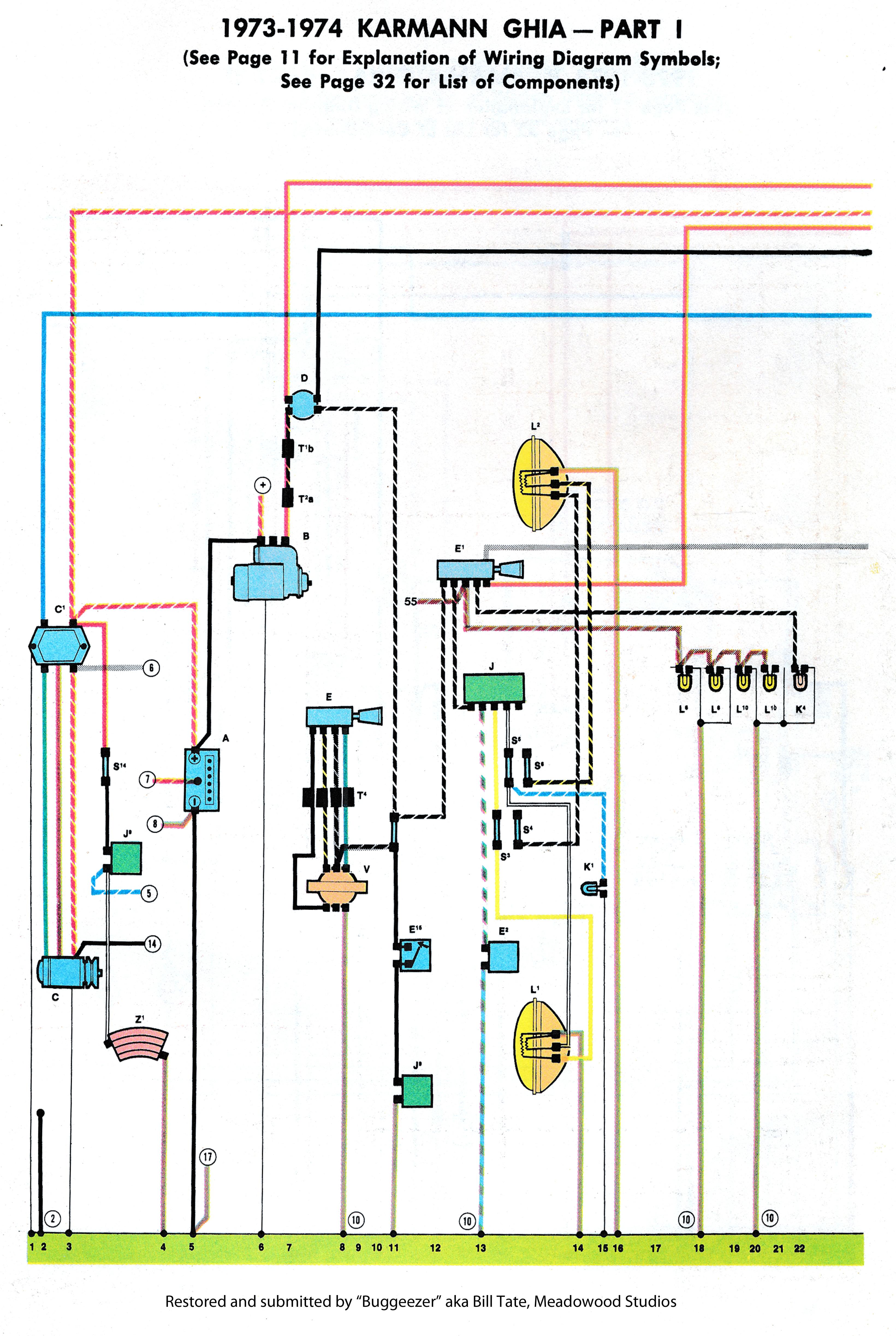 74 Volkswagen Karmann Ghia Directional Wiring Diagram