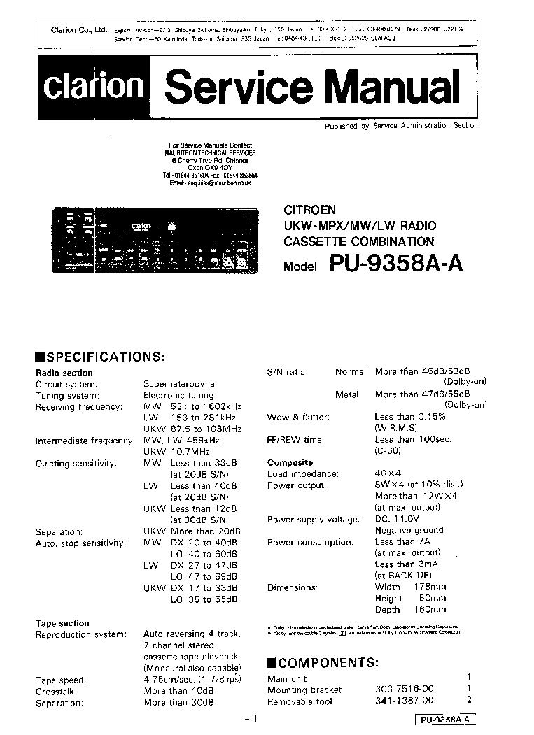 Clarion M455 Wiring Diagram