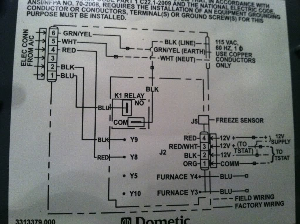 dometic  wire thermostat  controll kit wiring diagram