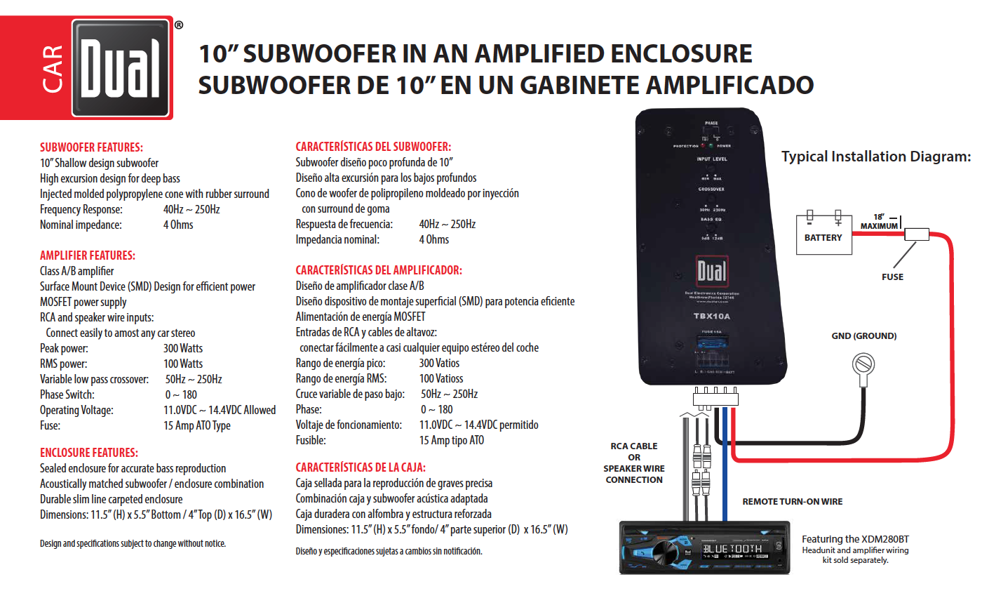 Dual Subwoofer Tbx10a Wiring Diagram