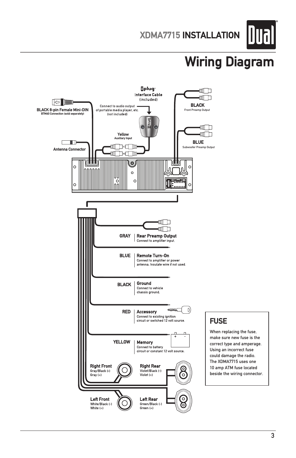 Dual Xd1225 Wiring Harness Diagram