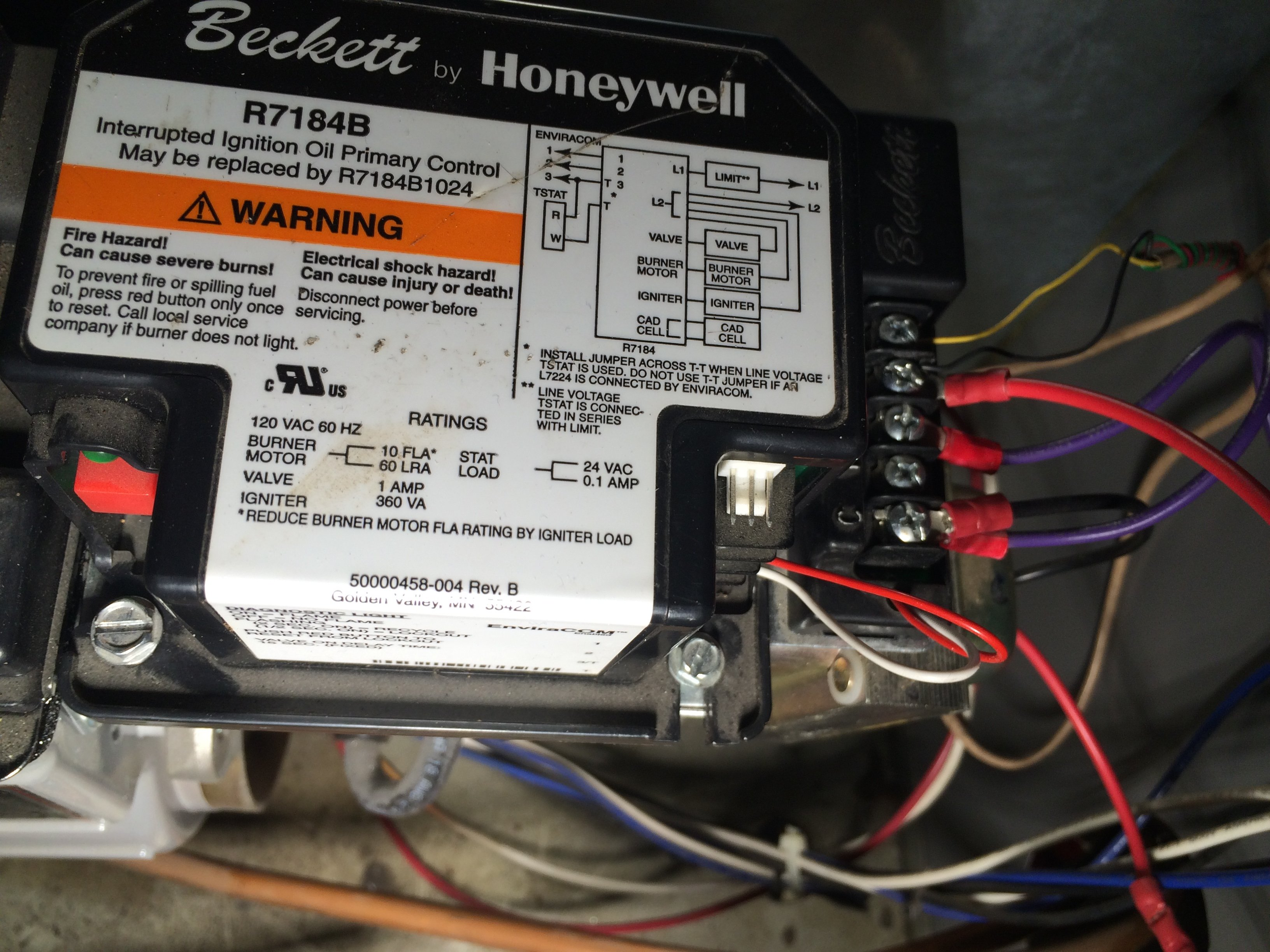 R7184 Interrupted Electronic Oil Primary - Honeywell