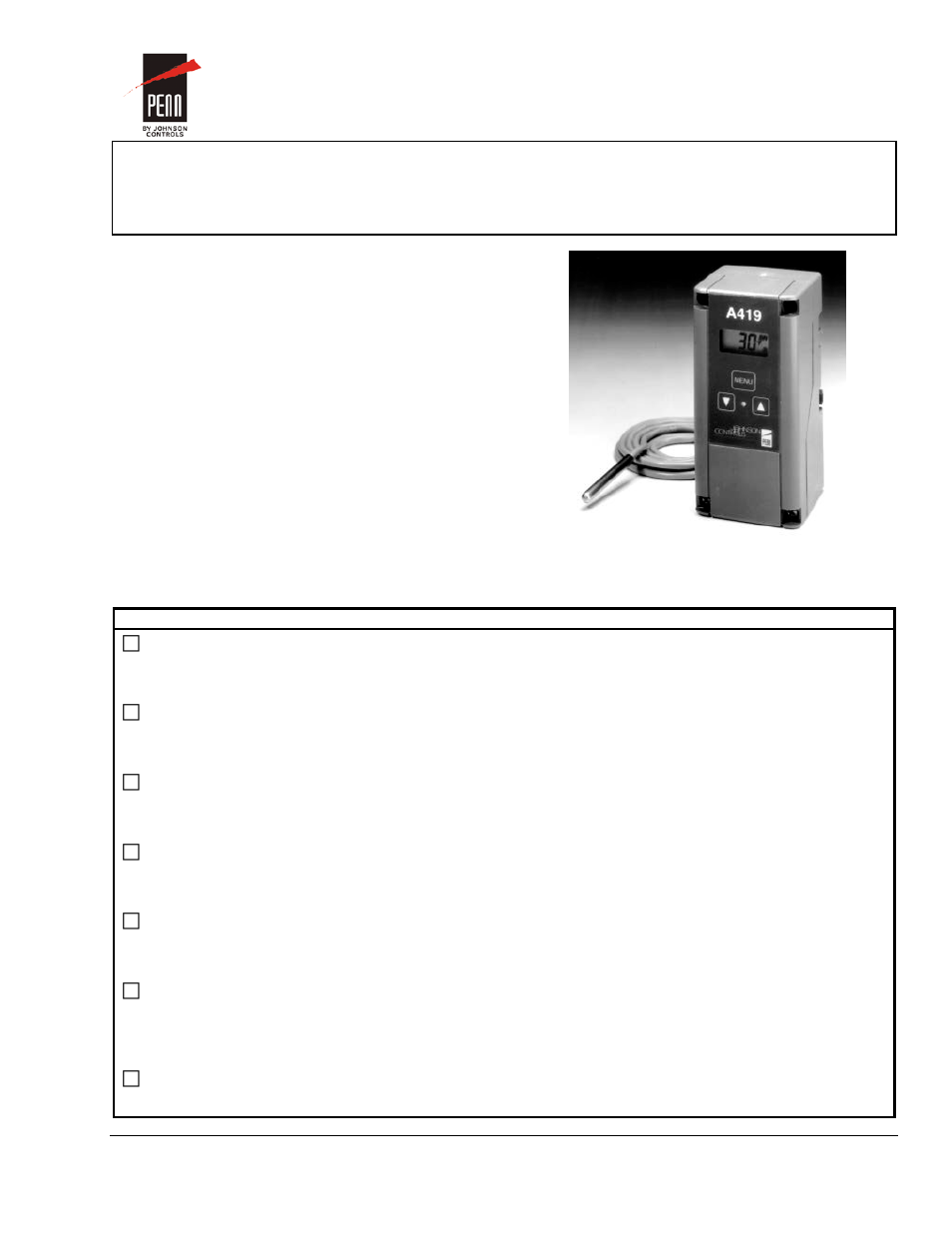 Johnson Controls A419 Wiring Diagram