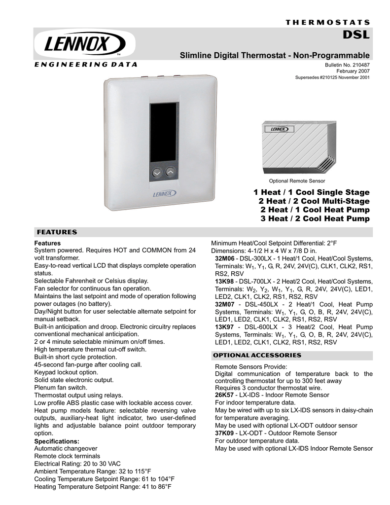 Lennox Dsl-450 Lx Thermostat Wiring Diagram. on