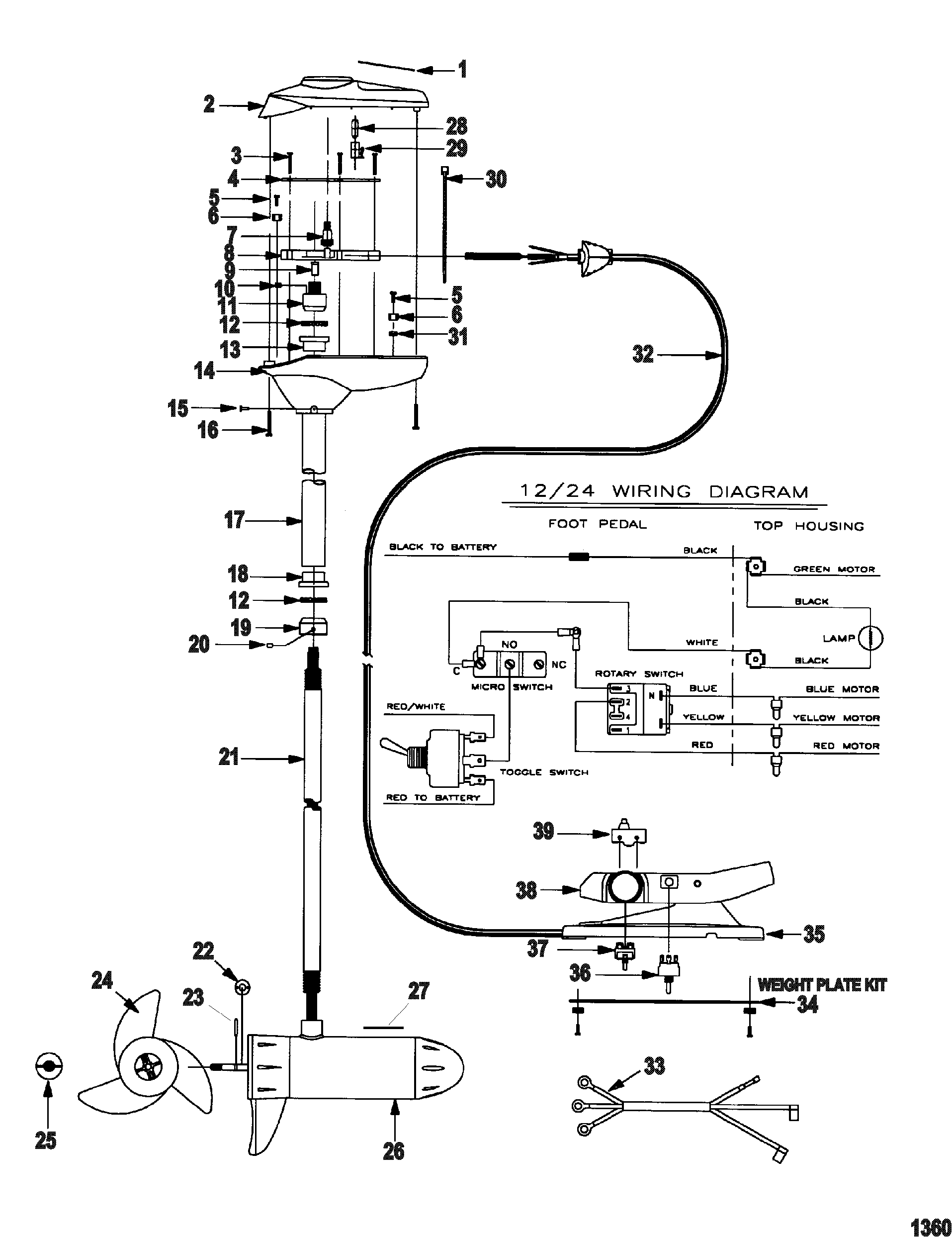 Wiring Diagrams For 12 Volt Or 24 Trolling Motor Manual Guide