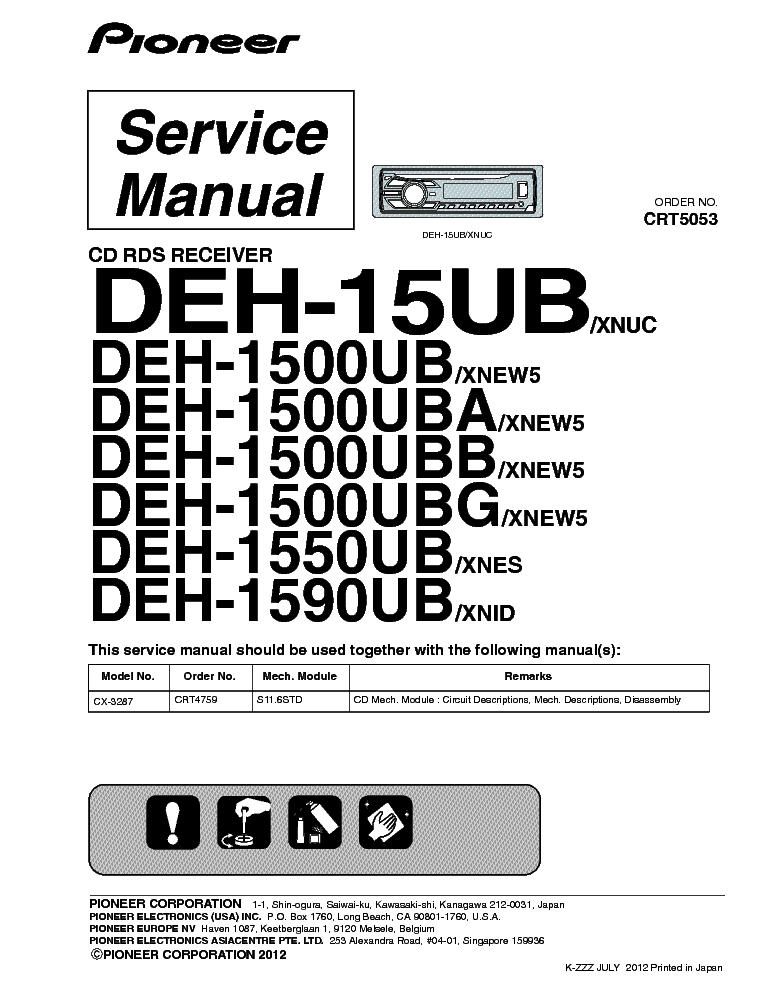 Pioneer Car Stereo Deh 15ub Wiring Diagram