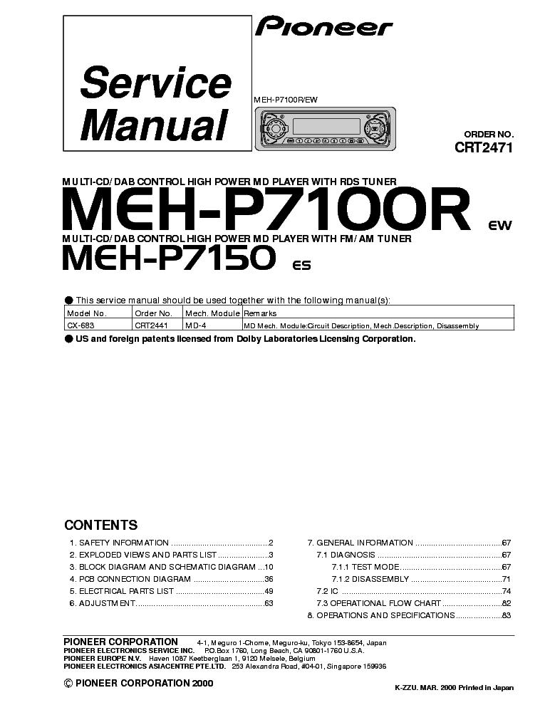 Pioneer Deh P3100 Wiring Diagram