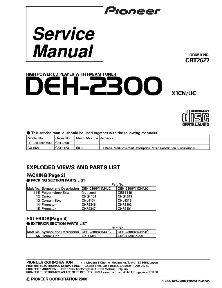 Pioneer Deh P3900mp Wiring Diagram