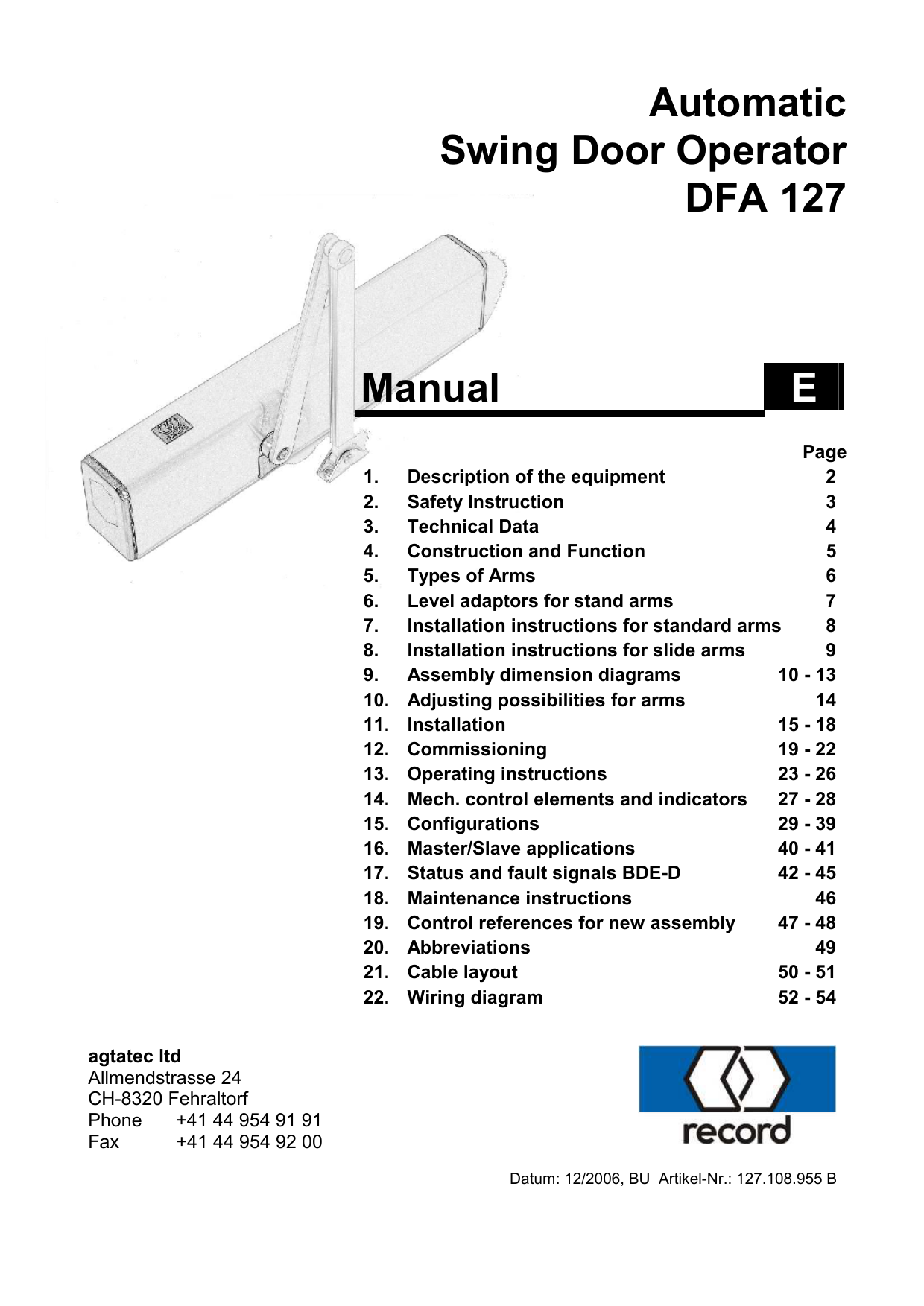 Record Dfa 127 Wiring Diagram