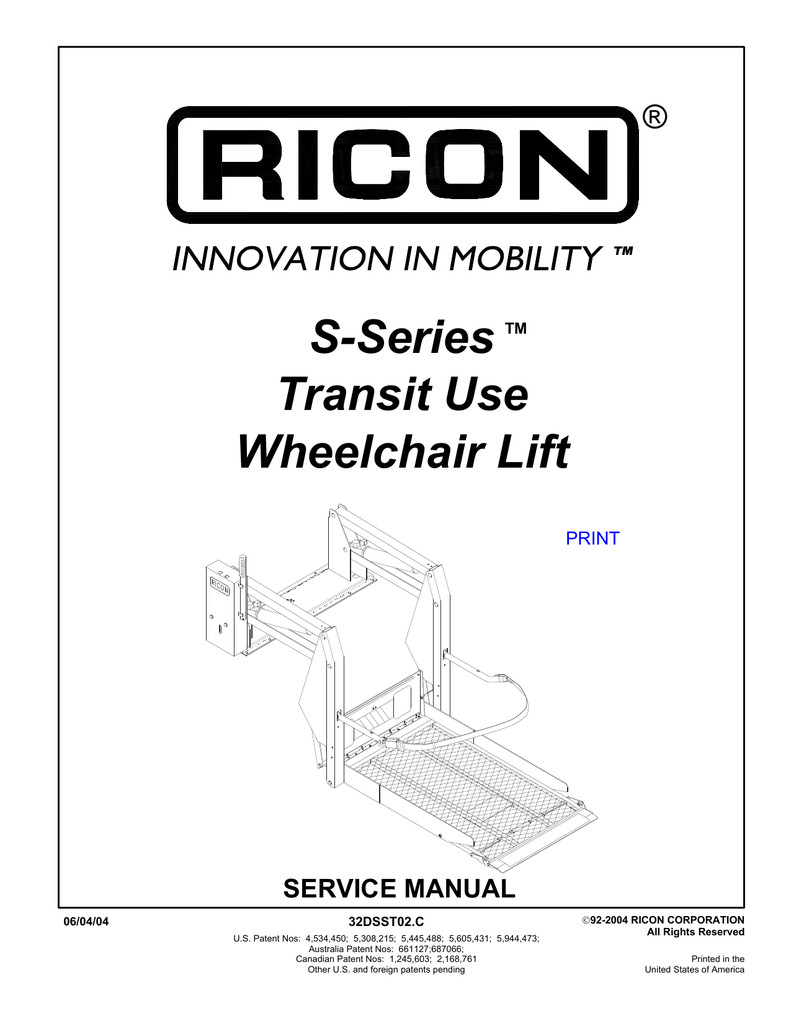 Ricon S Series Wheelchair Lift Wiring Diagram