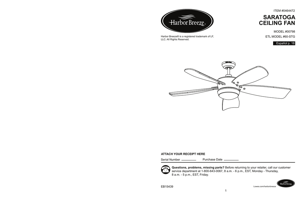 Saratoga Ceiling Fan Mdl 00798 Wiring Diagram