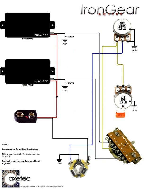 Simple Guitar Pickup Wiring Diagram 2 Humbuckers 3 Way Blade Switch