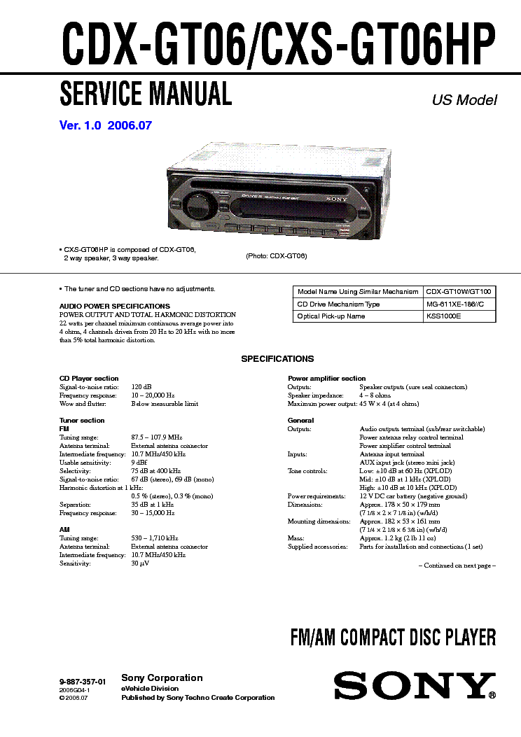 Sony Cdx Gt06 Wiring Diagram