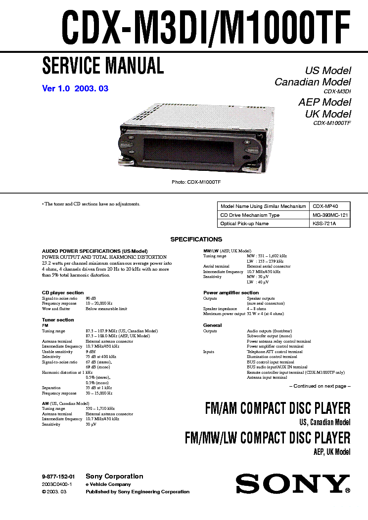 Sony Cdx Gt100 Wiring Diagram