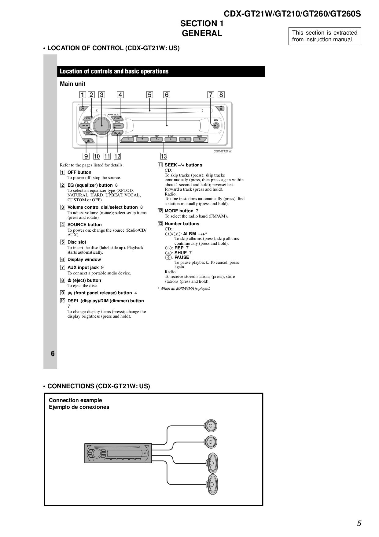 Sony Cdx Gt210 Wiring Diagram