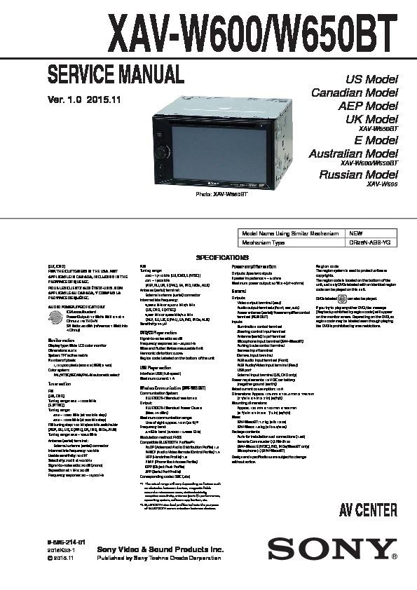 Sony Xav W650bt Manual Wiring Diagram