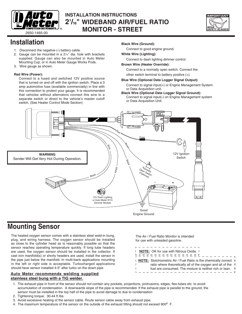 Wiring Diagram For Autometer Gauges