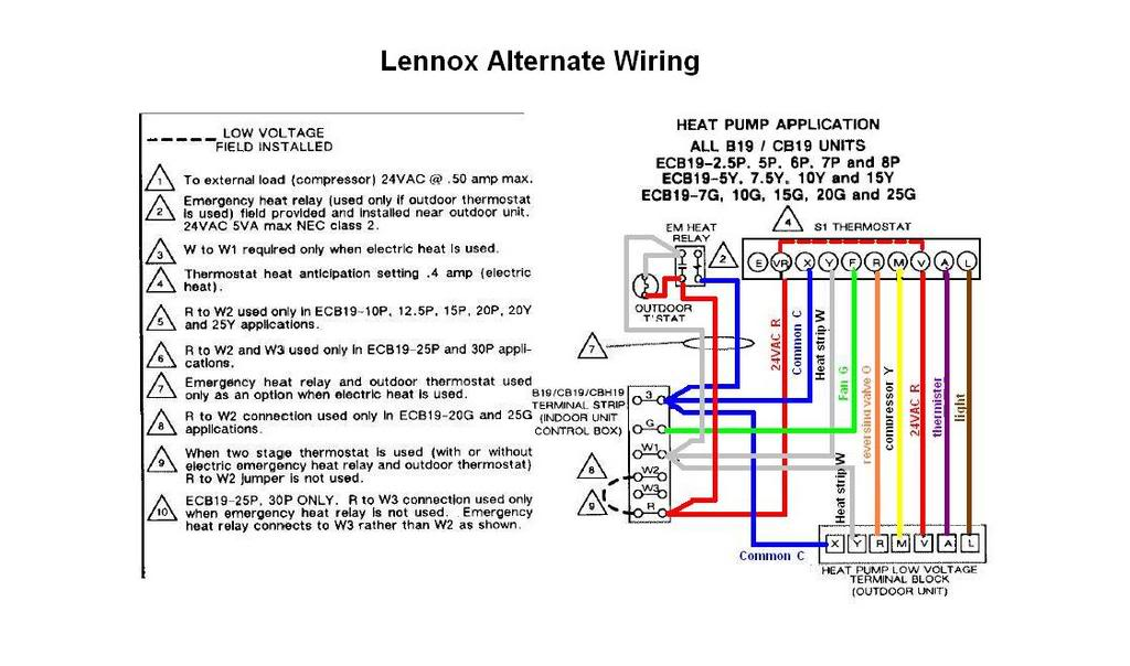 Diagram Lennox Heat Pump Thermostat Wiring