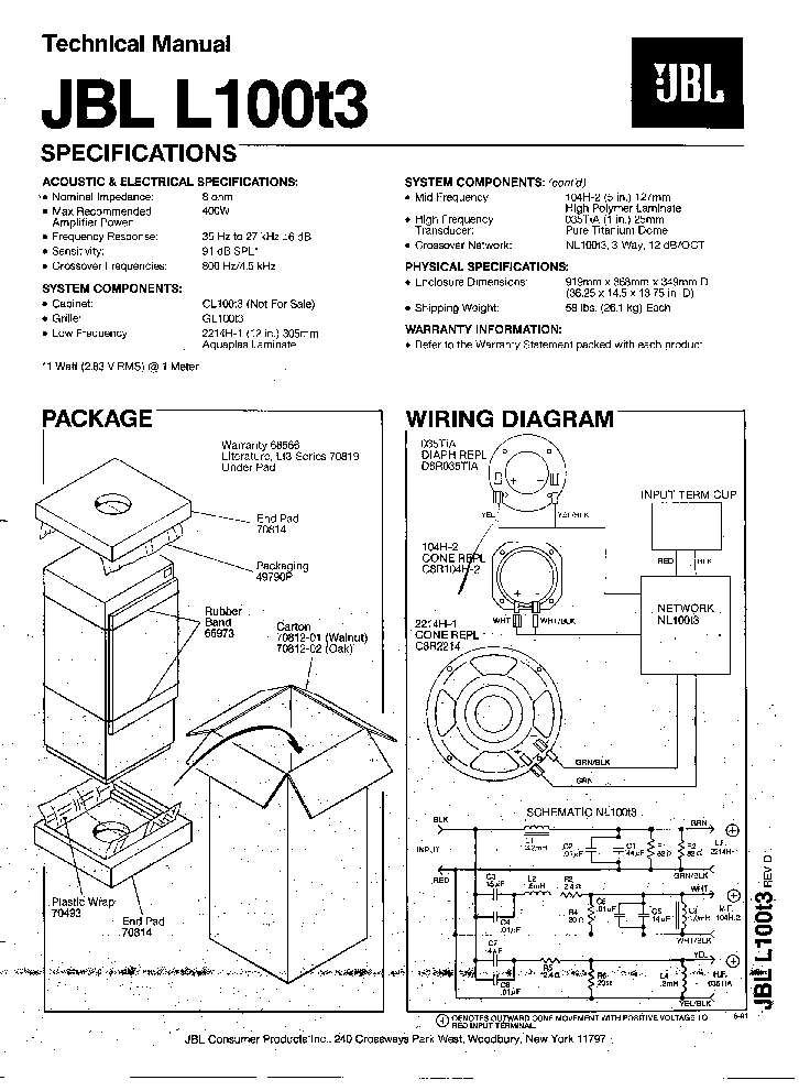 Wiring Diagram Jbl Crossover Network 73233